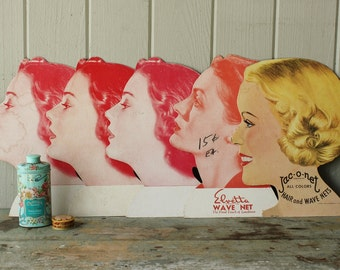 5 Vintage Mid Century Die Cut Hair Net Store Displays