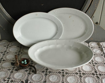 3 Antique Heavy Farmhouse White English Ironstone Platters