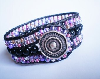 Black Purple Bracelet Czech Glass Jewelry Beaded Leather Cuff