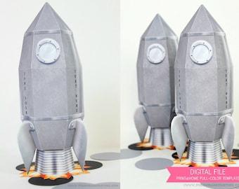Rocket Ship Favor Box : Print at Home Full-Color Template | Vintage Rocket Gift Box | Spaceship | Space | DIY Printable - Instant Download