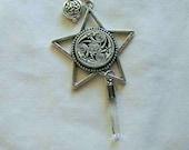 Celtic Silver Star Quartz Crystal Pendant Necklace