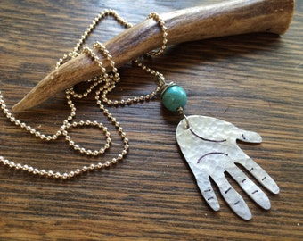 Hand pendant necklace, hand jewelry, metal hand and blue bead necklace
