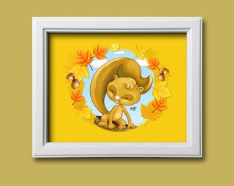Cartoon Squirrel Framed 8x10 Print