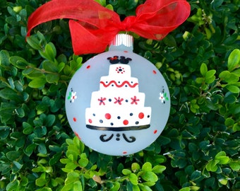 Disney Wedding Ornament - Personalized Hand Painted Christmas Glass Ornament, Just Married in Disneyland, Disney Ornament, Wedding Gift Cake