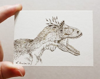 ACEO Print Dinosaur ACEO Limited Edition Art Card Ink Drawing Dinosaur Drawing Collectible Art Miniature Art Unframed Art Paleo Art