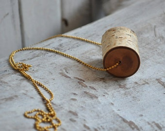 cylinder necklace  •  birch wood pendant  •  wooden necklace