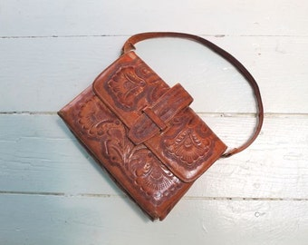vintage 1960s tooled leather handbag -  FLOR mexican leather purse