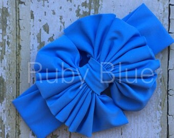 Periwinkle Messy Bow Head Wrap - Pool Safe
