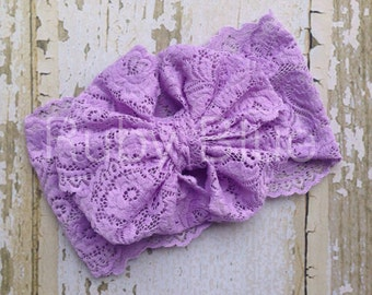 Lavender Lace Messy Bow Head Wrap