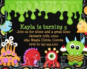Monster Birthday Invitation, Monster Party Decorations and Party Supplies, Printable or Printed