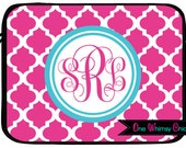 Monogram Laptop Case Macbook Air Case Personalized Laptop Sleeve Hot Pink and Turquoise