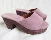 VALERIA LACERDA Lavender Suede Platform Block Slip On Shoes