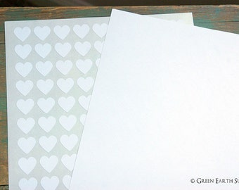 """CLEARANCE: 540 Recycled White Small Heart Stickers, 0.75"""" (19mm), 3/4 inch mini heart stickers, blank white planner stickers (5 sheets)"""
