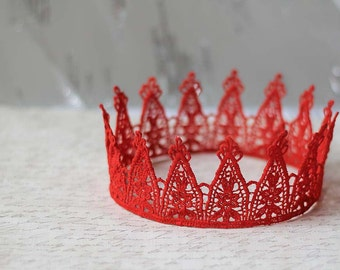 "Red Queen Lace Crown - ""Party Princess"" - fairytale, ballet crown, birthday crown, bridal crown, bachelorette party"
