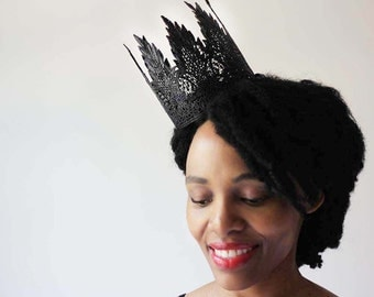 "Black Gothic Queen Lace Crown - ""Gothic Queen Medium"" - fairy tale, ballet crown, birthday crown, bridal crown, bachelorette party"