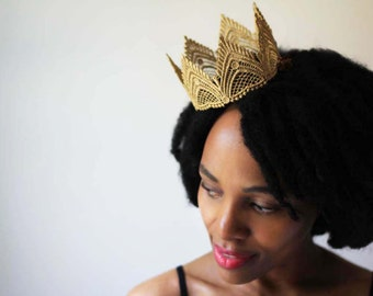 "Gold Fairy Tale Lace Crown - ""The Empress"" - queen crown, birthday crown, bridal crown"