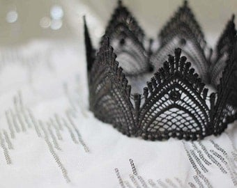 "Black Fairy Tale Lace Crown - ""The Empress"" - queen crown, birthday crown, bridal crown"