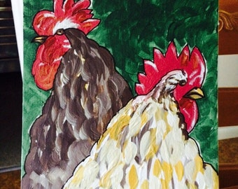 Chicken and Rooster original painting by Nita