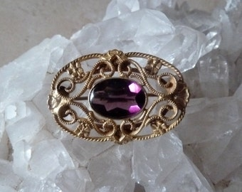 Amethyst Brooch, Gold Filigree Pin, Vintage Victorian Brooch