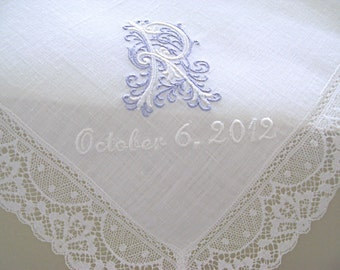 Wedding Hankies/ Bridal Handkerchiefs/ Bridal Hankerchief/Bridal Hankerchiefs/ Personalized Wedding Handkerchiefs