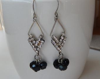 Rhinstone Chevron Earrings, Vintage Earrings, Long Dangly Earrings, Rhinestones and Black Beads