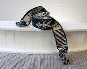 Vintage Black and white Southwestern woven Belt