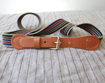 Vintage elastic belt Stripe Preppy Belt