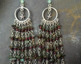 Chasing Stars Labradorite and Garnet earrings  Reduced 8.00 dollars now 22.00