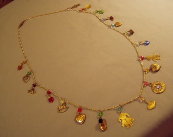 Vintage 1980s 33 Inch Charm Necklace With 19 Charms and Faceted Glass Beads 8116
