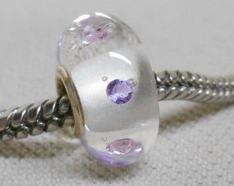 Handmade Lampwork European Charm Bead Silver Cored Clear Glass with CZ Cubic Zirconia