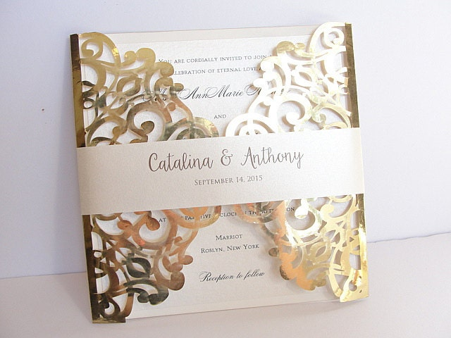 Laser Cut Wedding Invitation Gold Foil Wedding Invite Lace