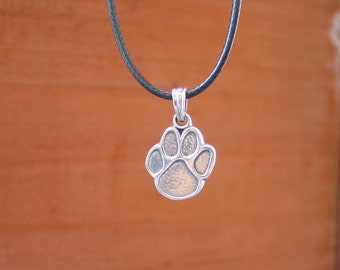 Dog's Paw Pendant with Adjustable Black Rope Sterling Silver