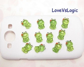 10 Frog with Flowers Lucite Cabochons