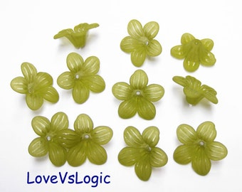 30 Acrylic Flower Beads.Matte Dull Olive Green