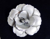 Large Vintage Silver Brushed Rose Pin Metallic Brooch Mid Century Fashion