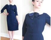 Vintage 1950s Navy Blue Day Dress / 50s Madeleine Fauth Button Down Dress / Medium