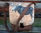 Brown Shoulder Bag, Compact Saddle Bag with original Moose on Vintage Map of Canada, Adjustable Shoulder Strap Day Bag