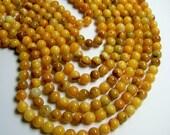 Golden Jade 8mm round - A quality - 49 beads per strand - Natural dark mix tone - RFG413