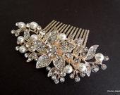 Swarovski Crystal and Pearl Wedding Comb,Wedding Hair Accessories,Vintage Style Flower and Leaf Rhinestone Bridal Hair Comb,Pearl,Gold,KATY