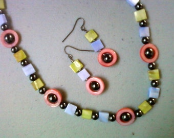 Pink, Blue, Green and Black Necklace and Earrings (0541)