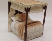 Dolls House Miniatures  Handmade 148th four poster (14inch bed)
