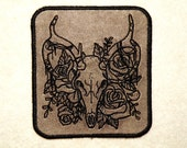 Deer Skull on Bed of Roses Iron on Patch on Cowhide Leather
