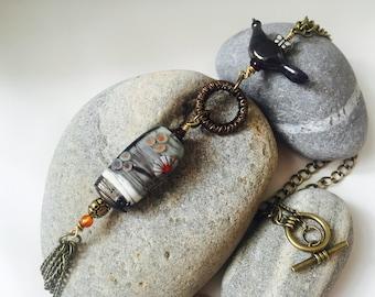 Handmade Lampwork Glass Bead Necklace - Autumn