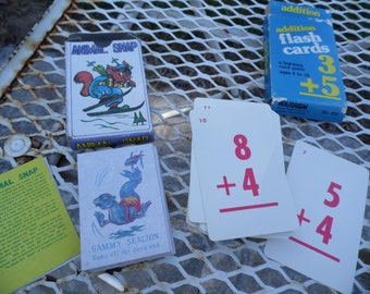 Vintage card games set of 3: Animal Snap, Addition Flash Cards, Bible Authors Bible game homeschool daycare