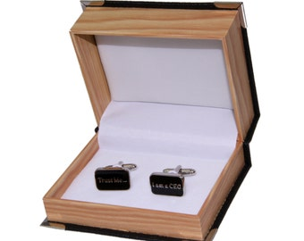 """Men's """"Trust Me I'm A CEO"""" Cufflinks and Gift Box"""