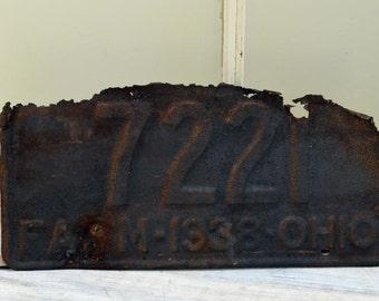 Primitive 1938 Ohio Farm License Plate - rust and crust auto plate - Rustic Man Cave Decor