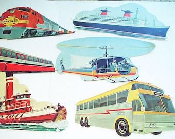 Vintage Die cut Cardboard Cutout Transportation Images Ephemera School Bulletin Board Wall Hanging  60s Cutouts