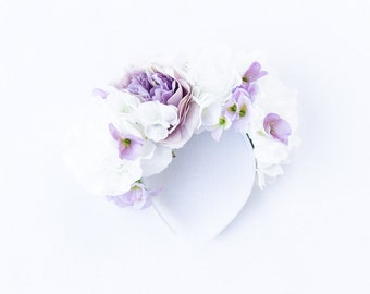 white and lilac lavender statement flower crown headband // Lore / statement rose wildflower crown, wedding headpiece, spring garden party