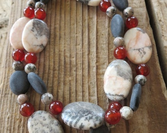 Rhodonite and Matte Onyx Beaded Necklace