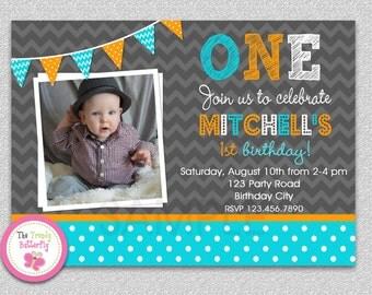 Boys 1st Birthday Invitation , Chevron Polka Dot Birthday Invitation